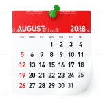 August 2018 - Calendar. Isolated on White Background. 3D Illustration